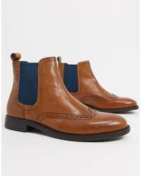 Dune Светло-коричневые Кожаные Ботинки Челси -коричневый - Синий
