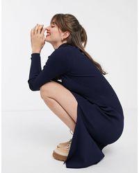 & Other Stories Темно-синее Трикотажное Платье Миди С Высоким Воротником -темно-синий