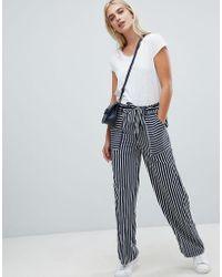 Pieces - Stripe Wide Leg Trouser - Lyst