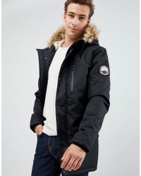 Threadbare Parka Coat With Faux Fur Trim Hood - Black