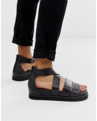 4cb97e9bbb26 Lyst - ASOS Gladiator Sandals In Black Leather With Buckles in Black ...