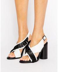 Sol Sana | Casey Heel Cross Strap Leather Heeled Sandals | Lyst