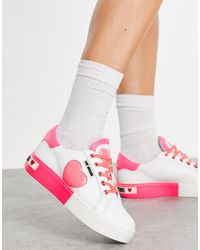 Love Moschino Бело-розовые Кроссовки На Плоской Платформе С Сердечками -белый - Многоцветный