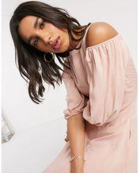 Closet Wardrobe Cold Shoulder Flared Panel Dress - Natural