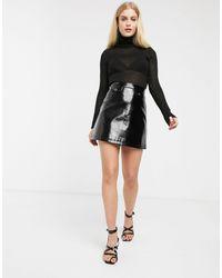Monki Croc Print Patent Mini Skirt - Black