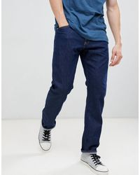 Calvin Klein Rinse Straight Jeans With Logo Back Patch - Blue