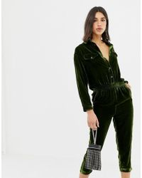 Miss Sixty Velvet Jumpsuit With Back Logo - Green