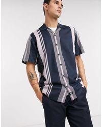 Dickies Forest Park Short Sleeve Stripe Shirt - Blue