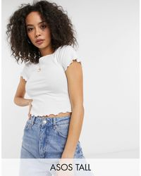 ASOS - Camiseta corta blanca ajustada con borde ondulado - Lyst