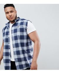 SIKSILK - Sleeveless Muscle Shirt In Blue Check Exclusive To Asos - Lyst