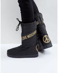 Love Moschino Зимние Сапоги С Символикой Мира -черный