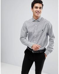 Polo Ralph Lauren - Stripe Smart Shirt Spread Collar Polo Player In Blue - Lyst