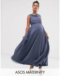 ASOS Vestido largo adorno floral en 3D en el cuello - Azul