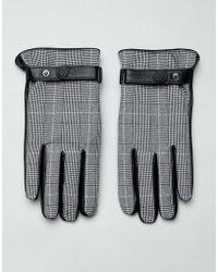ASOS Gants en cuir pour écrans tactiles à carreaux Prince de Galles - Noir