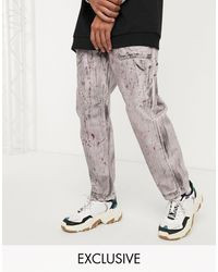 Reclaimed (vintage) Skater Fit Jeans With Hand Drawn Print And Wash - Purple