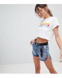 PrettyLittleThing Side Split Denim Shorts - Blue