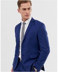 Jack & Jones Синий Облегающий Эластичный Пиджак Premium