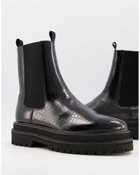 ASOS Черные Ботинки-челси Из Искусственной Кожи С Крокодиловым Принтом - Черный