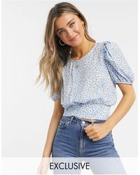 Miss Selfridge Puff Sleeve Blouse - Blue