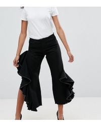 ASOS - Straight Leg Jean With Cascading Ruffle Side In Clean Black - Lyst