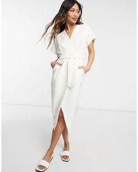 Closet Kimono Wrap Midi Dress - White