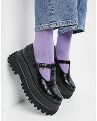 ASOS Черные Туфли На Плоской Массивной Подошве С Ремешком И Эффектом Крокодиловой Кожи - Черный