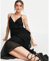 Pimkie Черное Платье Макси На Бретельках С V-образным Вырезом И Присборенной Юбкой -черный