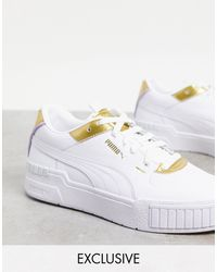 PUMA - Белые Кроссовки С Золотистой Отделкой Cali Sport – Эксклюзивно Для Asos-белый - Lyst