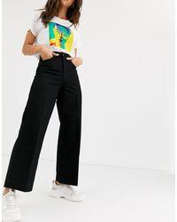 SELECTED Femme – Jeans mit hohem Bund und weitem Bein - Schwarz