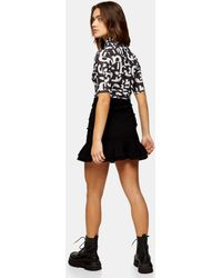 Topshop Unique Bengaline Ruched Mini Skirt - Black