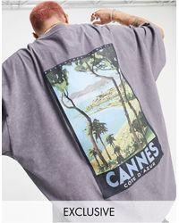 "Reclaimed (vintage) Inspired - T-shirt con stampa ""Cannes"" sul retro - Grigio"