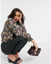 Y.A.S Wrap Crop Top With Shirred Waist - Black
