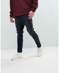ASOS - Drop Crotch Jeans In Washed Black With Rips - Lyst
