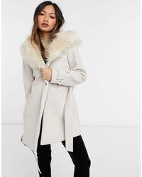 River Island Faux Fur Hood Short Robe Coat - Natural
