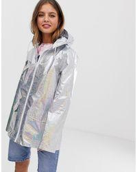 Brave Soul Glitter Holographic Festival Rain Mac In Silver - Metallic
