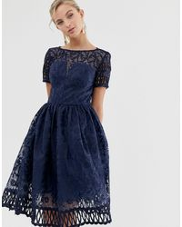 Chi Chi London Premium Lace Dress With Cutwork Detail And Cap Sleeve - Blue