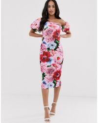 ASOS - Floral Asymmetric Bubble Sleeve Midi Dress - Lyst