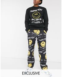 Chinatown Market Smiley Twisted Have A Nice Day Lightweight Woven Pants - Black