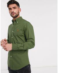 Polo Ralph Lauren - Оливково-зеленая Рубашка Узкого Кроя -зеленый - Lyst