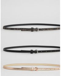 ASOS - 3 Pack Metallic And Snake Waist And Hip Belts - Lyst