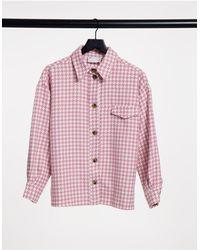 ASOS - Розовая Куртка-рубашка С Узором «гусиная Лапка» - Lyst