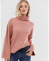 Vila Roll Neck Sweater With Wide Cuff - Pink