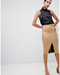 River Island Faux Suede Wrap Front Pencil Skirt - Multicolour