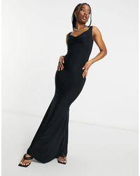 Club L London Vestido largo negro con escote Bardot en forma