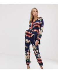 Missguided Exclusive Tall Long Sleeved Jumpsuit In Mixed Print