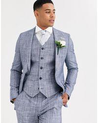 ASOS Wedding - Giacca da abito skinny blu scuro con tratteggio incrociato