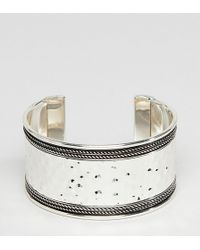 ASOS - Asos Design Curve Exclusive Hammered And Engraved Cuff Bracelet - Lyst