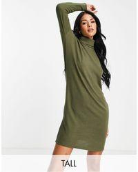 Noisy May Vestito maglia dolcevita corto kaki - Verde