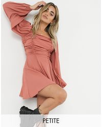 Missguided Robe trapèze froncée - Rouille - Rouge