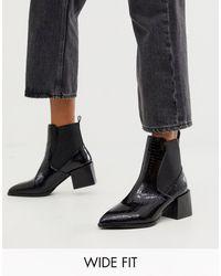 Raid Wide Fit Exclusive Lucinda Black Croc Chelsea Boots With Block Heel